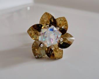 Ring Lily Crystal Bronze Shade Swarovski Crystal beads