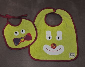 Set of two bibs lime green baby themed clown