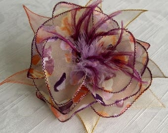 Large barrette flower fabric & feathers and pearls 056
