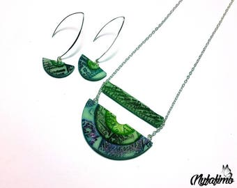 """Finery """"Cities of gold"""" style Inca necklace and earrings, green/blue"""