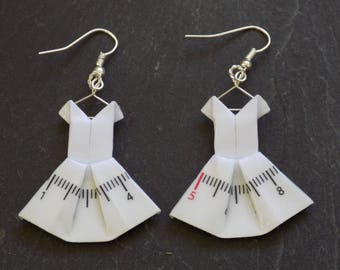 Earrings seamstress origami dresses