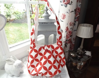 Red and white geometric canvas Messenger bag