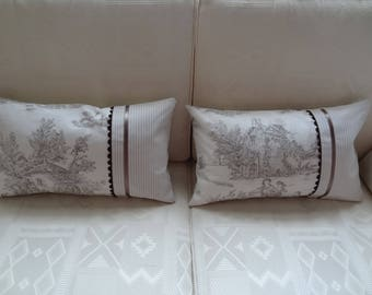 Set of two cushion covers 50cm x 30cm canvas of Jouy Pastotale ecru and taupe