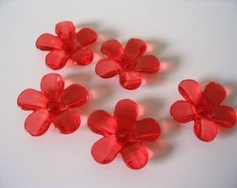 5 transparent lucite / plastic flowers