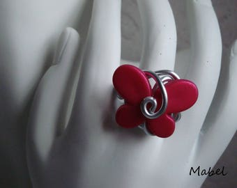 Butterfly ring pink fuschia, aluminum silver wire, adjustable, wedding