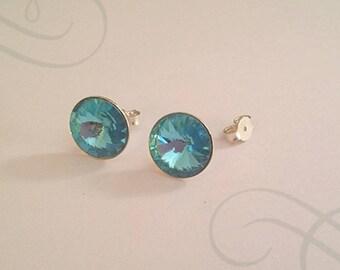 Chip swarovski 12 mm aquamarine support earring 925 sterling silver
