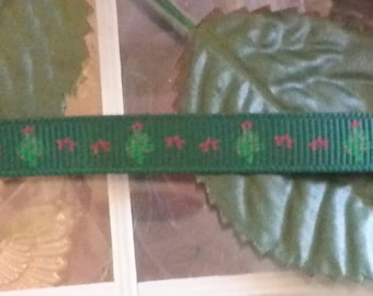 3 meters of Ribbon Christmas tree, green, 10 mm wide, 1 m