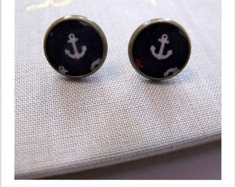 Earrings Stud Earrings fabric anchor Navy blue background
