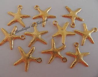 GOLDEN 10 CHARMS BEADS METAL STARFISH CHARMS - JEWELRY CREATION