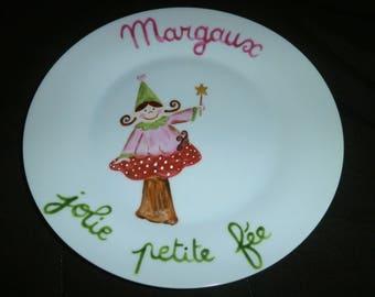 """Personalized kids painted plate """"fairy on mushroom"""""""