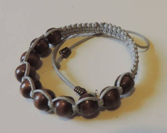 Grey woven bracelet with Brown wood beads