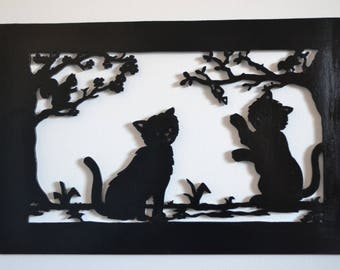 Wall decor wooden frame depicting two cats