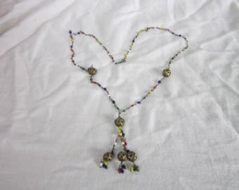 Antique Art Deco Multi Colored Glass Beaded Necklace with Filigree Balls
