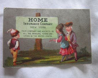 1878 Antique Victorian Trade Card Home Insurance Co Great Graphics