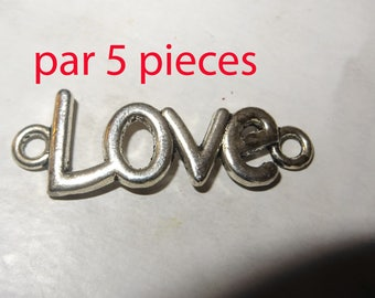 5 charm connector love silver-plated curb chain or pendant