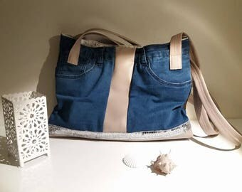 """bag of denim and faux leather """"cute OWL"""""""