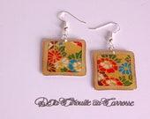 Boucles d'oreille motif japonais, couleurs vives