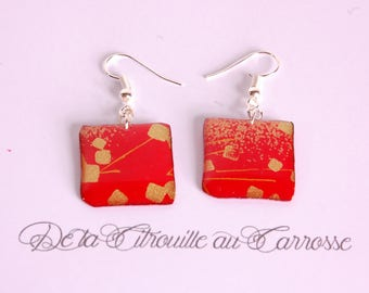 Japanese motif, red and gold earrings