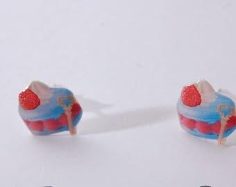 Blue raspberry macaron studs/posts