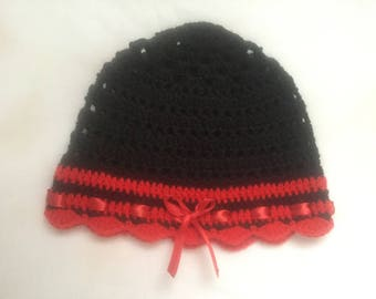 Black and Red Butterfly crochet Hat