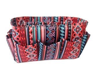 Aztec Pink Blue Handbag Purse Insert Organizer