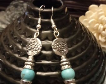 Ethnic earrings silver and turquoise hooks 925 Silver