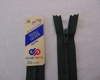Zip closure, metal, green lichen (Z11 790)