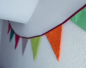7 triangular Bunting in colorful fabric