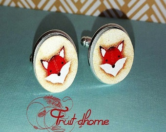 """Nice pair of cufflinks """"Edgar"""" silver metal and wood cabochons hand painted"""