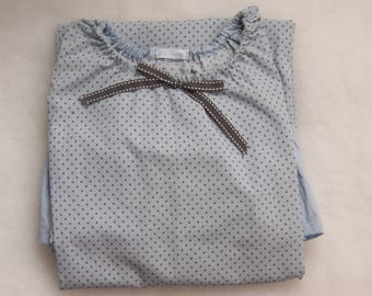 Blue Nightgown with gray dots