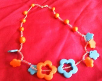 "necklace""flowers"" blue and orange beads and polymer clay mid-long """