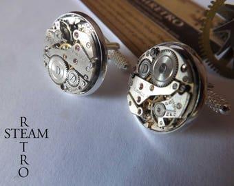 Steampunk cuff links - 18mm Swiss movement buttons cufflinks cuff links - men - wedding by Steamretro cufflinks