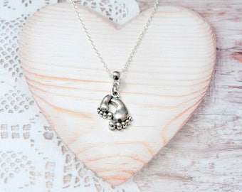 Charm pendant chain necklace small baby child feet