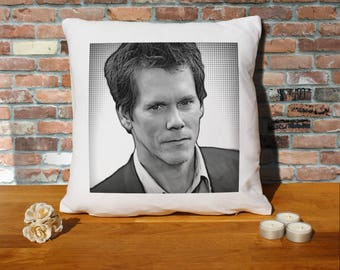 Kevin Bacon Pillow Cushion - 16x16in - White