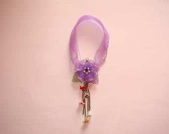 flowers in purple organza necklace