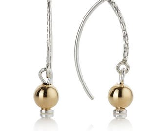 Gold and Silver Drop Hoop Earrings