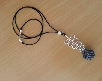 Fabric necklace, black satin, silver, pendant necklace, Pearl rhinestone