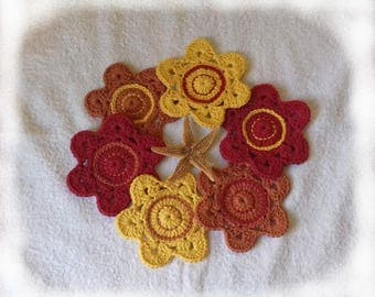 6 coasters made of cotton yarn crochet Brown, red, yellow glasses or cups shape flowers
