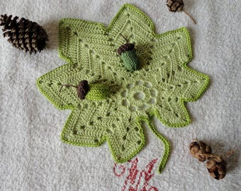 Doily, saucer, table top, table mat in the shape of leaf green cotton with 2 acorns knit crochet