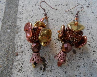 """Woven beaded and embroidered Chandelier Earrings"""