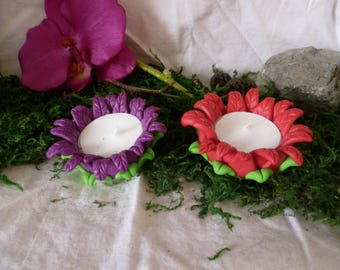 Flower shaped candle holder