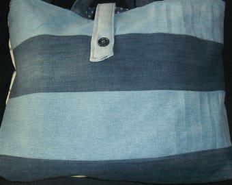 Denim tote bag handmade of denim and cotton