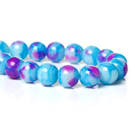 Set of 5 glass beads - blue and pink - 8 mm