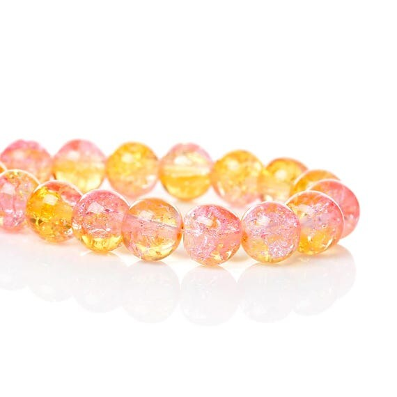 Set of 5 glass beads - yellow and pink transparent - 8 mm