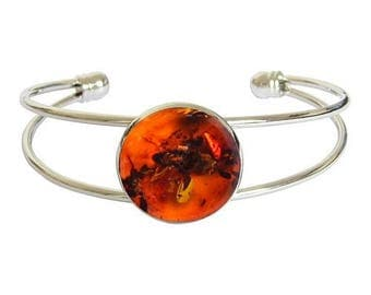 Amber cabochon silver plated bracelet-