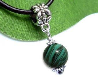 Silver plated sphere pendant - malachite