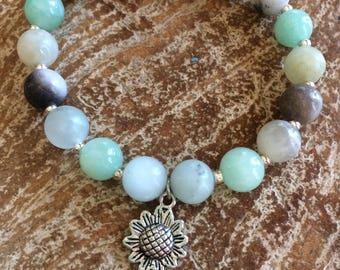 Semi precious amazonite stones with sunflower charm