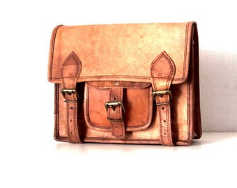 Vintage 100% genuine leather briefcase style leather satchel