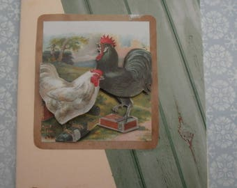 142 3d greeting card the rooster and his hen