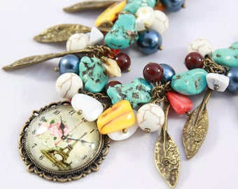 beautiful necklace cameo was Paris, stone and glass beads 55 cm